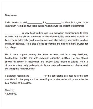 Sample Letter Of Recommendation For Scholarship 15 Examples In
