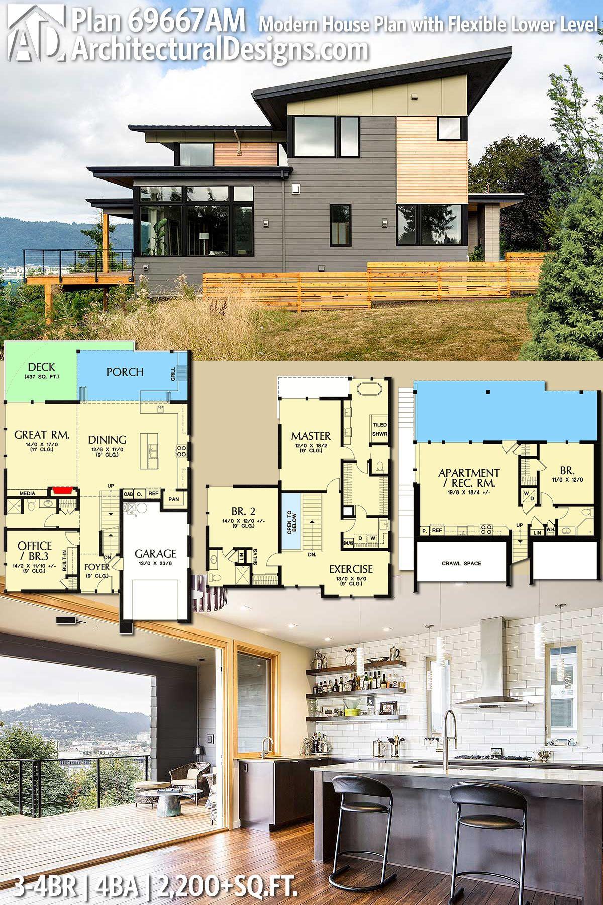 Plan 69667AM Modern House Plan with Flexible