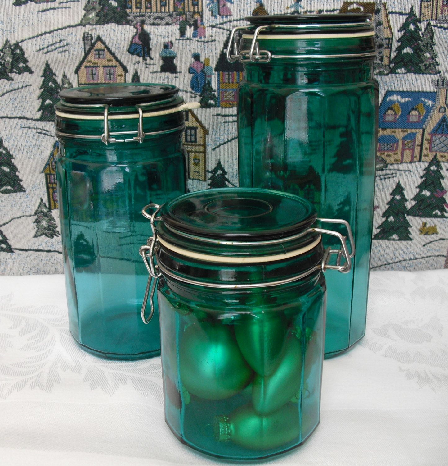 Vintage Italglass Green Glass 3 Piece Canister Set With Metal Clasp  Closure, Kitchen