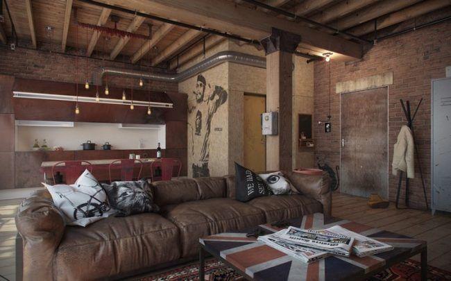 wohnzimmer-modern-gestalten-loft-ledersofa-wohnkueche-industrial - wohnzimmer modern bilder