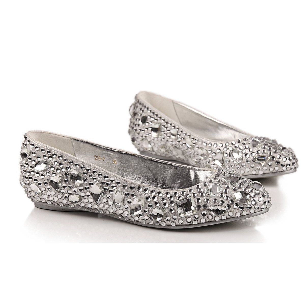 comfortable flats silver crystal shoes for wedding or daily use 11500 via etsy