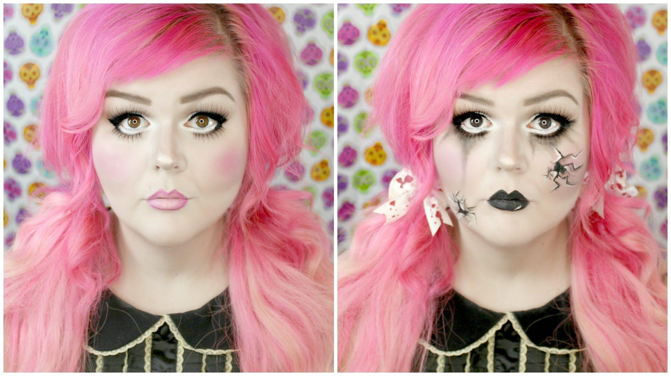 Cute Or Creepy Broken Doll Halloween Makeup Tutorial