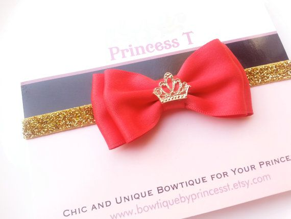 Baby/Girls Headband Red Classic Bow w/ by BowtiquebyprincessT, $8.90