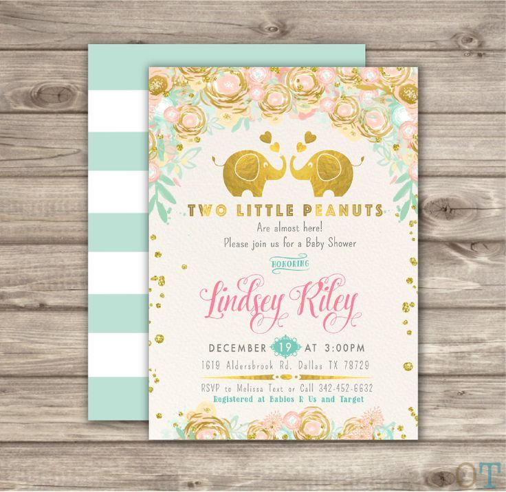 Twin Baby Shower Invitations A little Peanut Invitations Elephant ...