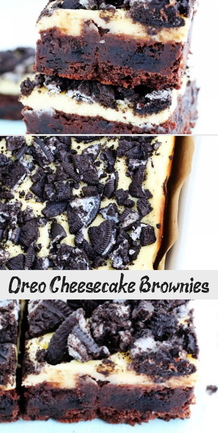 Oreo Cheesecake Brownies! - A fudgy brownie stuffed with crushed Oreos and topped with a decadent l