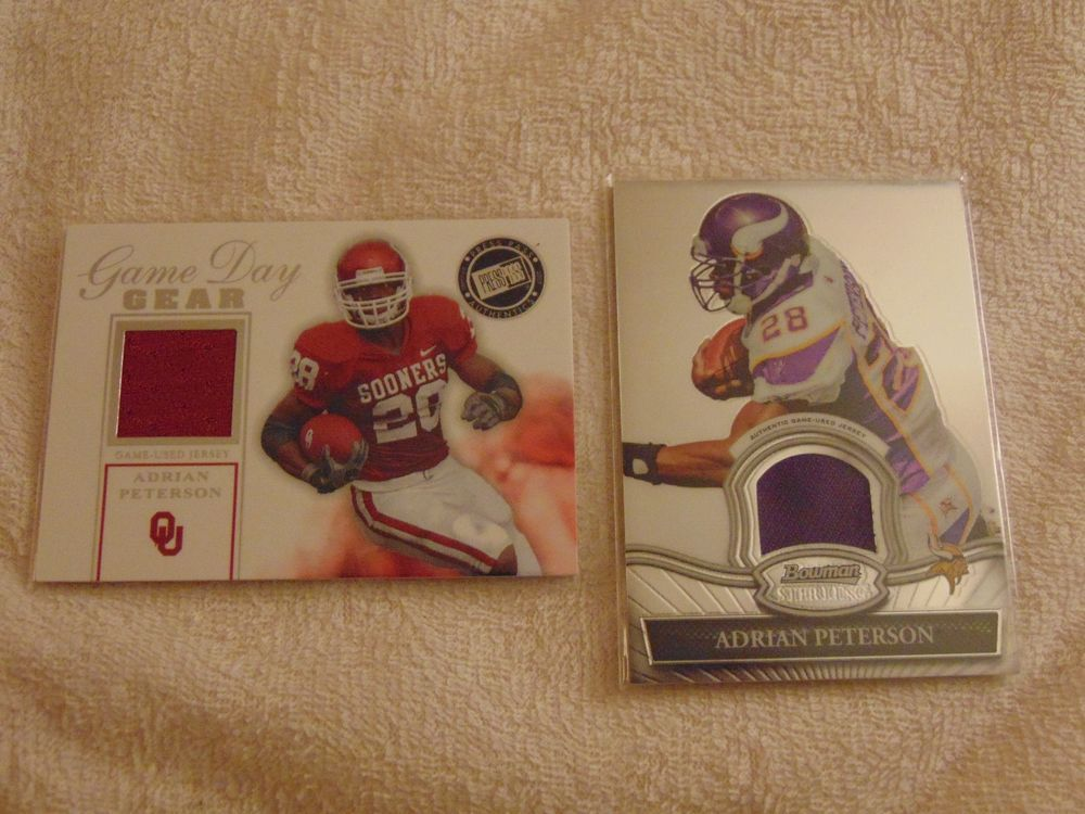 2007 adrian peterson rookie game used press pass game day