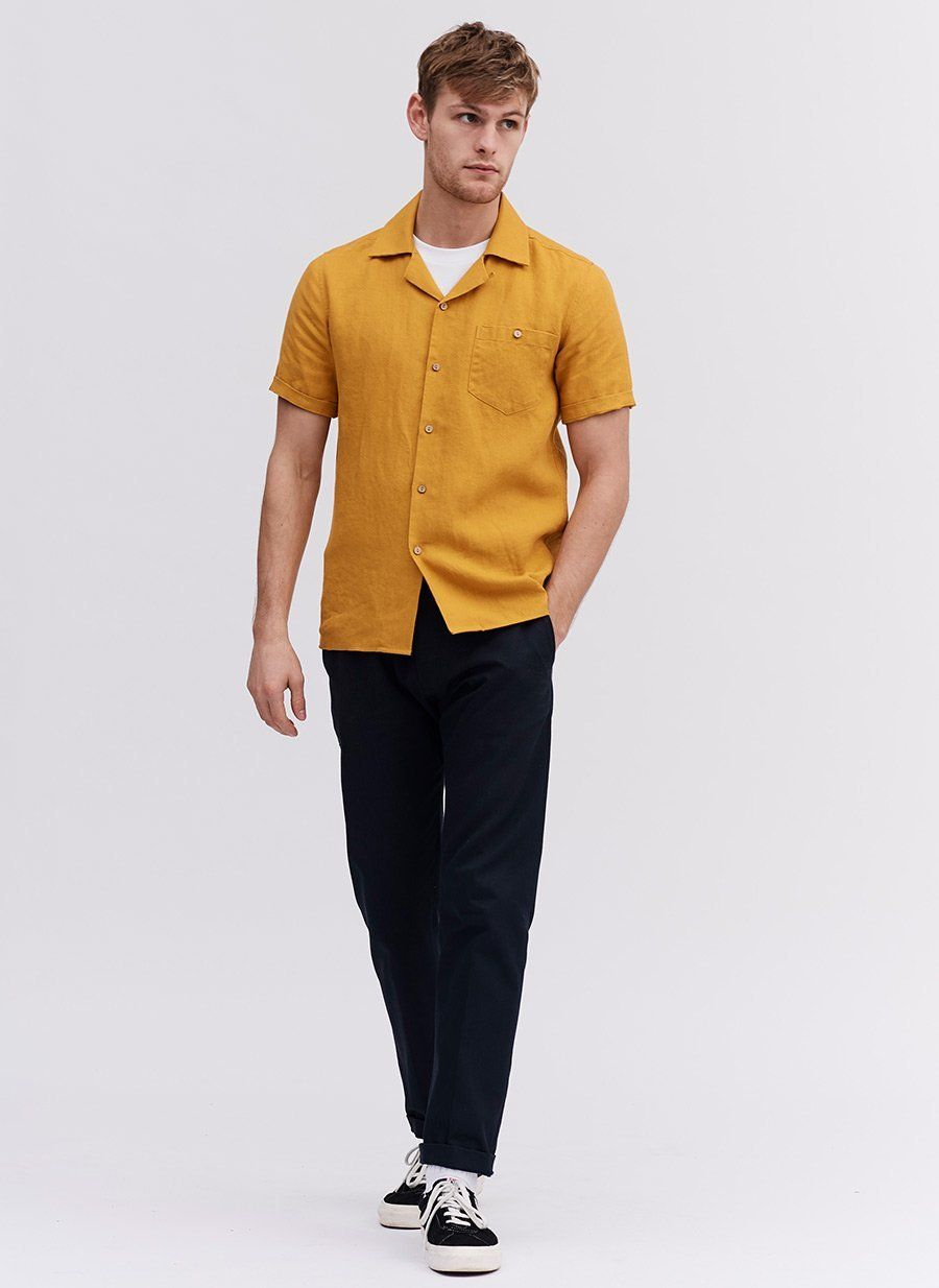 Cuban Short Sleeve Shirt | Mustard Linen </p>                     </div> 		  <!--bof Product URL --> 										<!--eof Product URL --> 					<!--bof Quantity Discounts table --> 											<!--eof Quantity Discounts table --> 				</div> 				                       			</dd> 						<dt class=