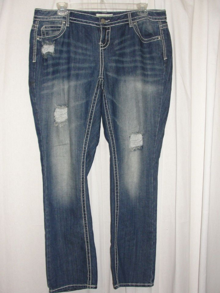 a208ab65781 ALMOST FAMOUS Premium Jeans Blue Stitch Trim Destroyed Boot Cut Leg Size 20   ALMOSTFAMOUS  BootCut