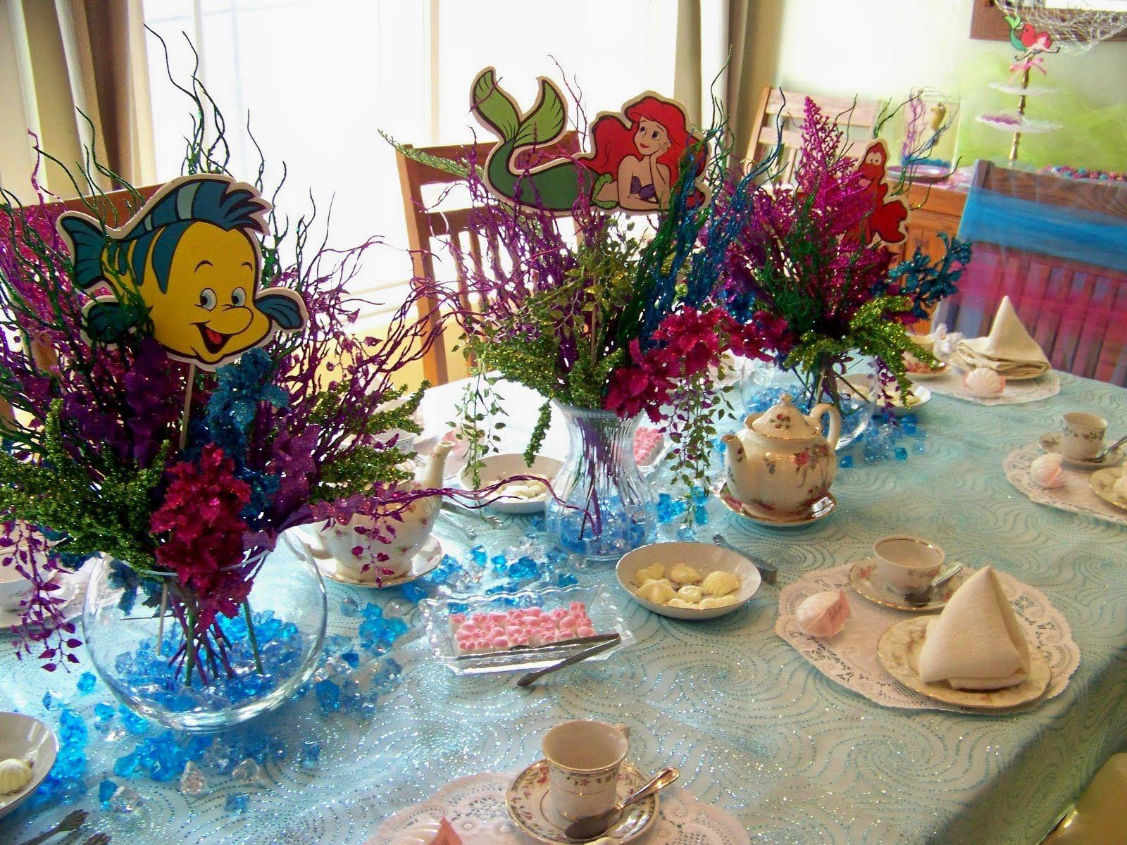 little mermaid centerpieces ideas plumeria cake studio under the sea tea party party. Black Bedroom Furniture Sets. Home Design Ideas