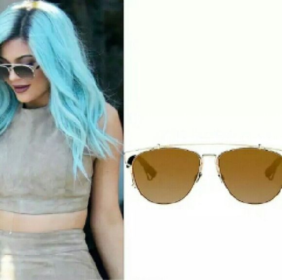 """Kylie Jenner Style Aviator Sunglasses NWOT Aviator like glasses. Gold color frame Brown lenses and an adjustable nose pads. One lens height is 2"""" and width is 2.25"""". All of my sunnies are UV400 protection. Please check my other sunnies listings as well. Thank you. Urban Outfitters Accessories Sunglasses"""