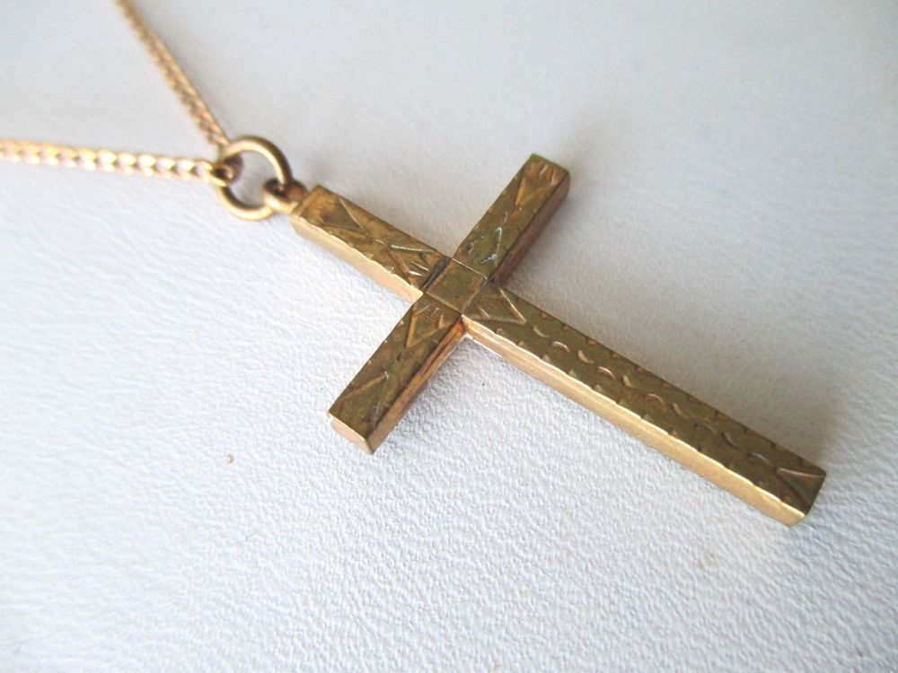 Vintage necklace engraved cross pendant gold filled chain aloadofball Images