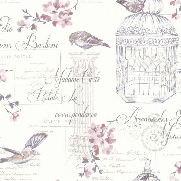Birds And Typography Shabby Chic Wallpaper Plum White Birdcage Wallpaper Typography Wallpaper French Wallpaper