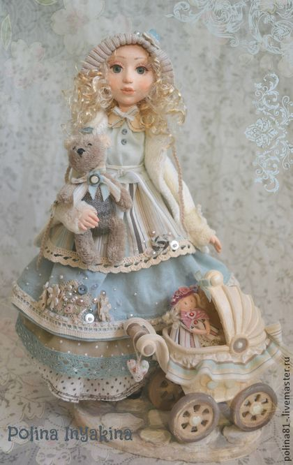 Кукла с коляской - бежевый,трикотаж,единственный экземпляр,ручная авторская работа