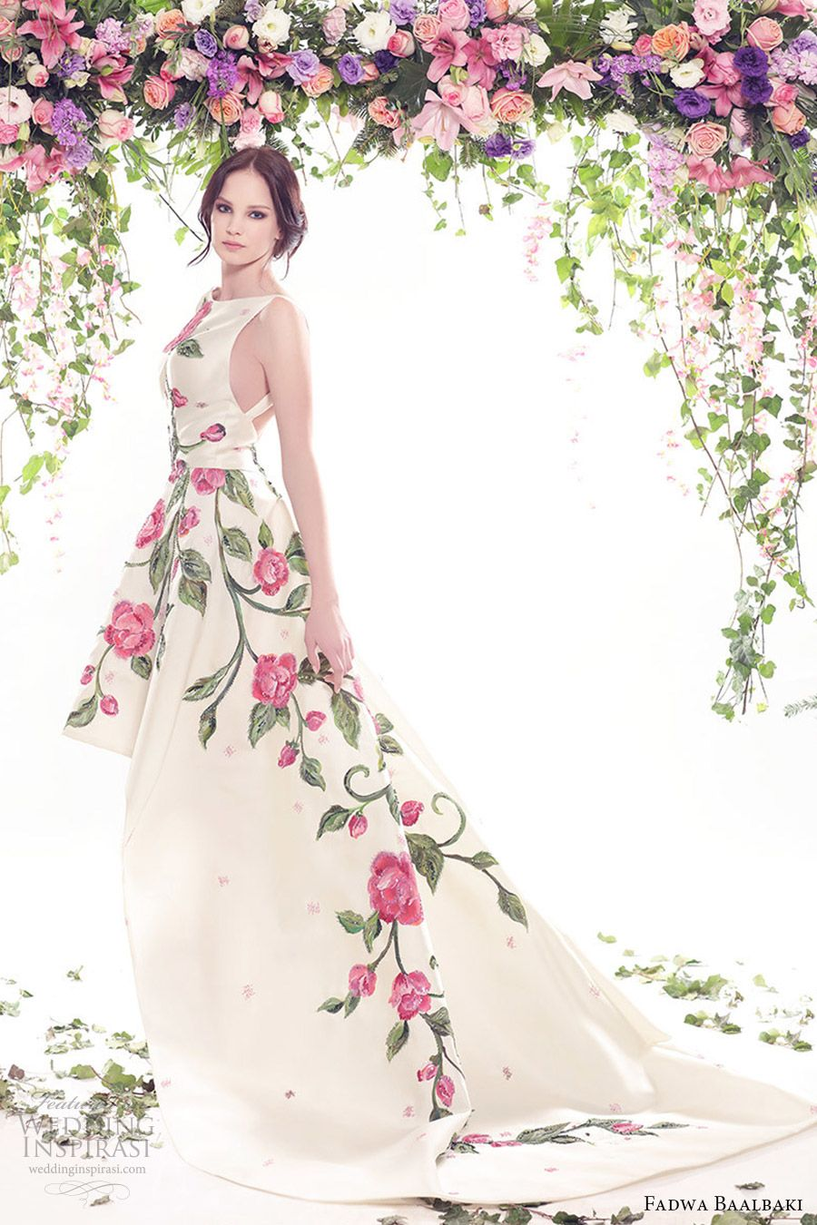 2b021dc15d8b fadwa baalbaki spring 2016 couture jewel neck ball gown multi color floral  print mv