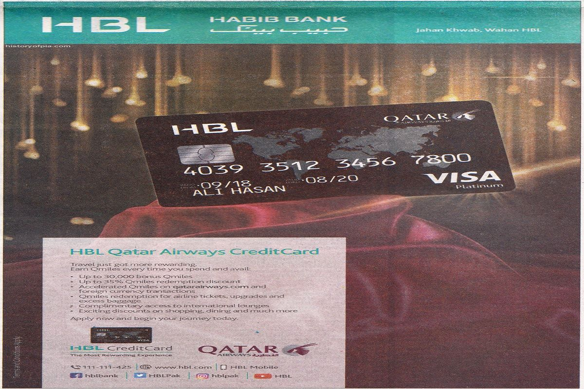 Hbl Qatar Airways Credit Card Launched For Frequent Flyers Credit Card Frequent Flyers Qatar Airways