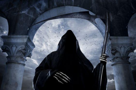 Gothic Undead Scythe Hood headgear Fantasy reaper skeleton