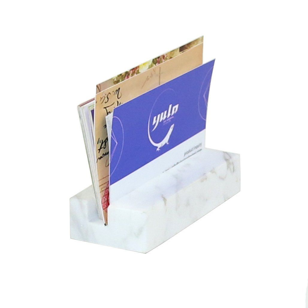 Amazon.com : lieomo White Marble Business Card Holder Office Desk ID ...