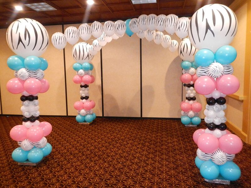 Girls birthday or christening balloon decorations floor for Balloon decoration ideas for christening