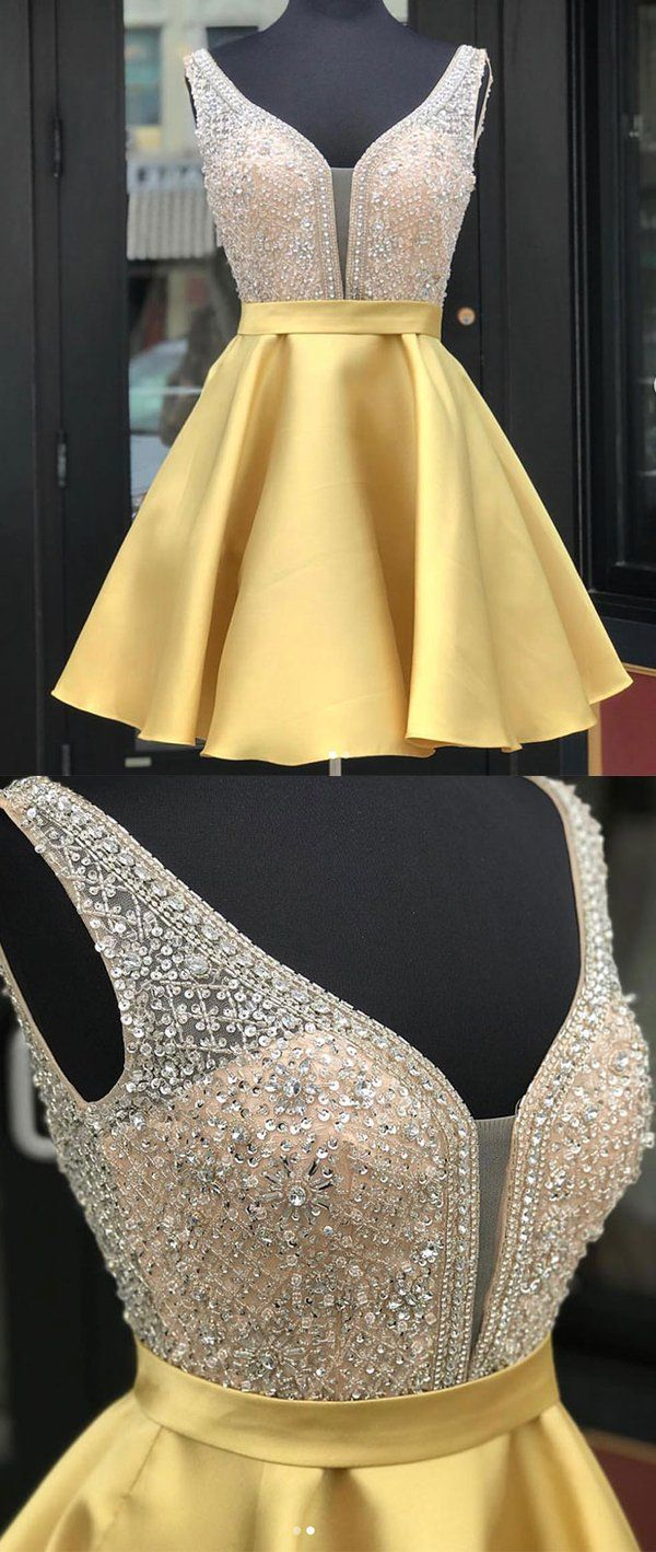 Yellow v neck sequin short prom dress yellow homecoming dress in