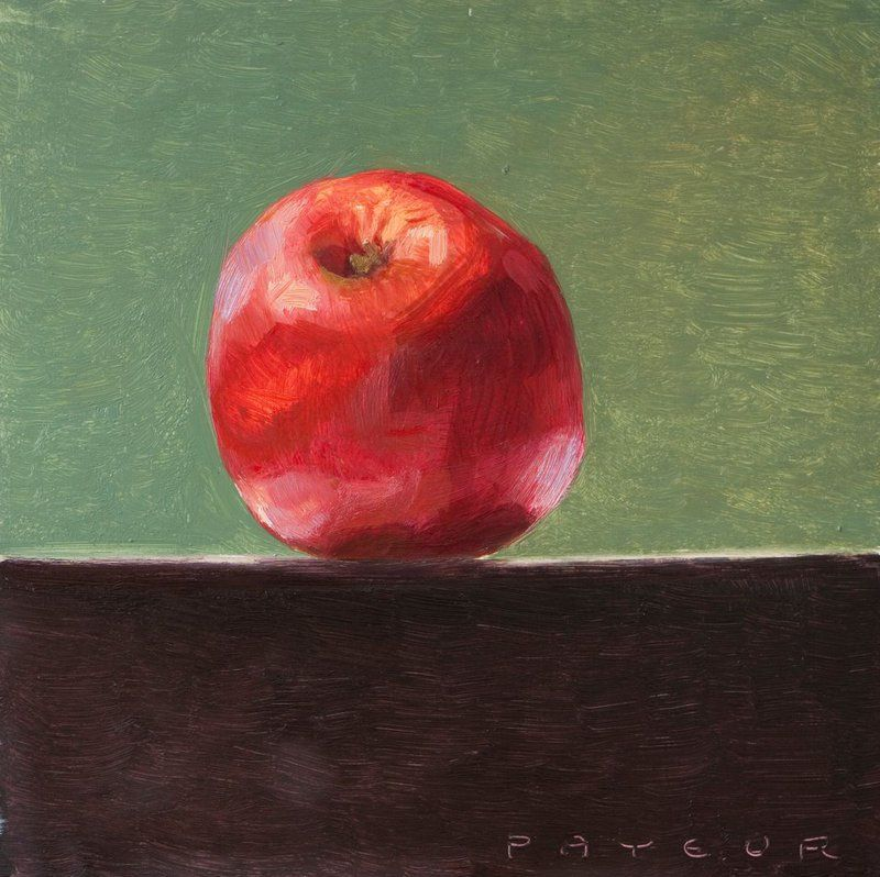 Still Life Of Fresh Red Apple On A Green Background 2019 Oil Painting By Olivier Payeur Green Backgrounds Painting Red Apple
