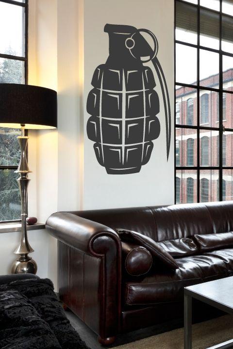Grenade Wall Decals, bansky, street art, bomb design, contemporary art, Wall Stickers Art Without Boundaries-WALLTAT.com