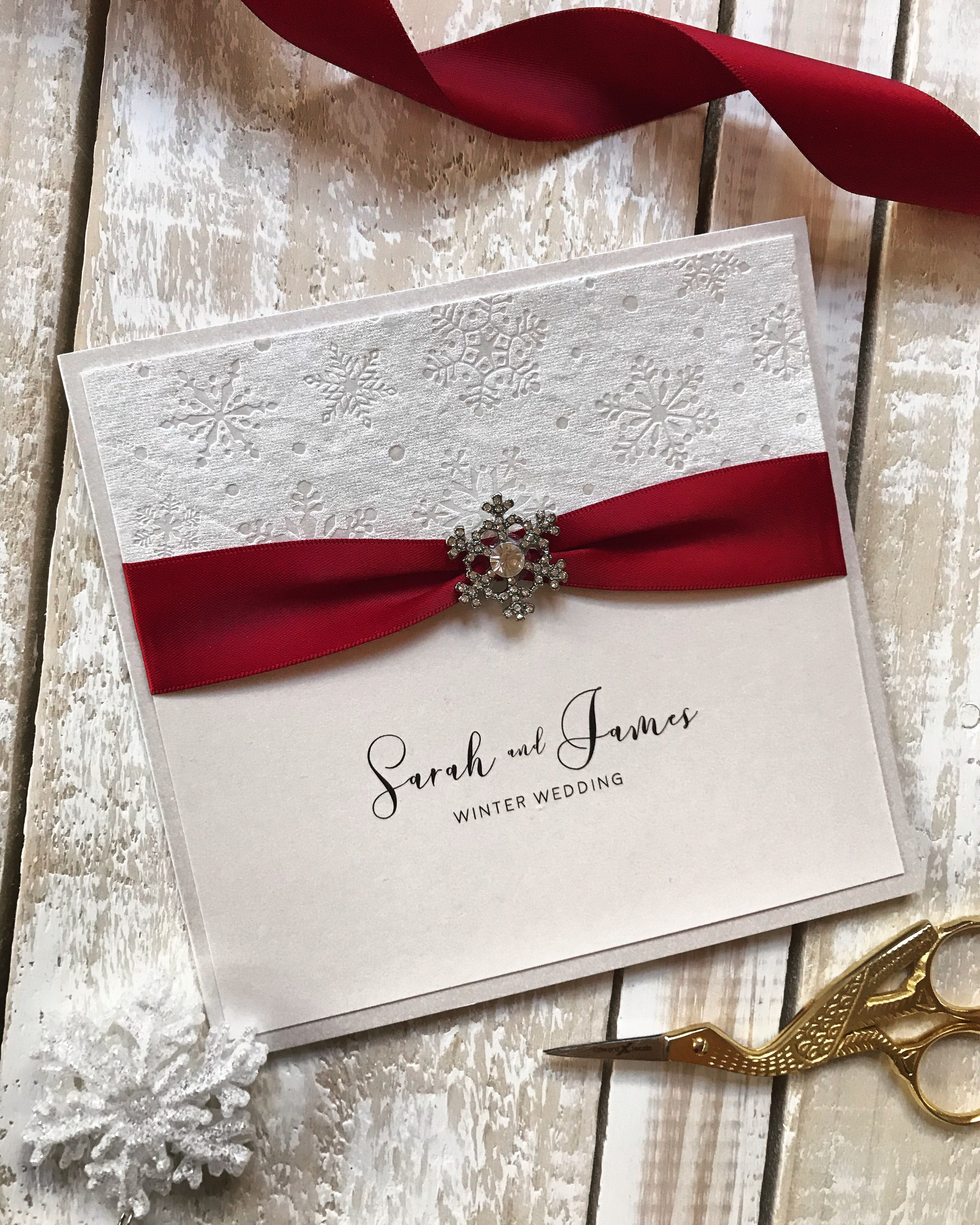 Winter wedding invitation. Burgundy luxury satin gathered