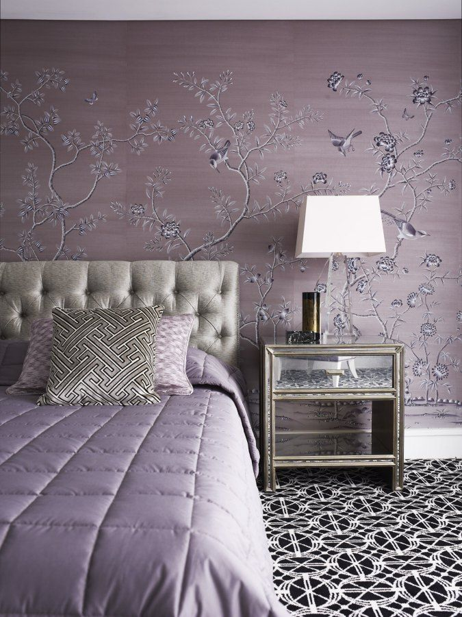 Beautiful Soft Lavender Master Bedroom With Chinoiserie Wallpaper And Bold  Black And White Geometric Carpet Adding Depth And Contrast To The Softness  Of The ...