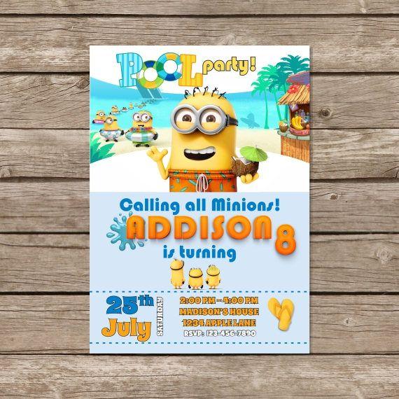 Minion Birthday Invitation, Minion Pool Party Invitation, Minions - birthday invitation pool party