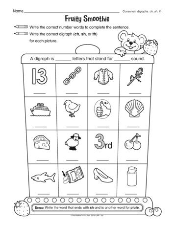 This phonics worksheet provides practice with consonant digraphs ...