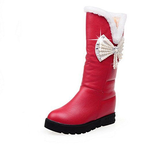 MayMeenth Womens Solid PU KittenHeels PullOn Round Closed Toe Boots with Jewels Red 41 *** You can find out more details at the link of the image.(This is an Amazon affiliate link and I receive a commission for the sales)