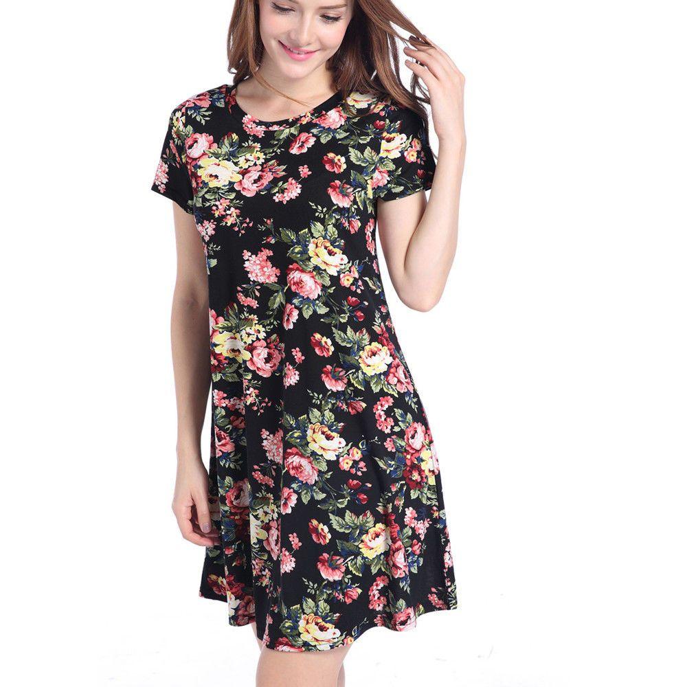 Awesome womens summer short sleeve mini dress ladies beach evening