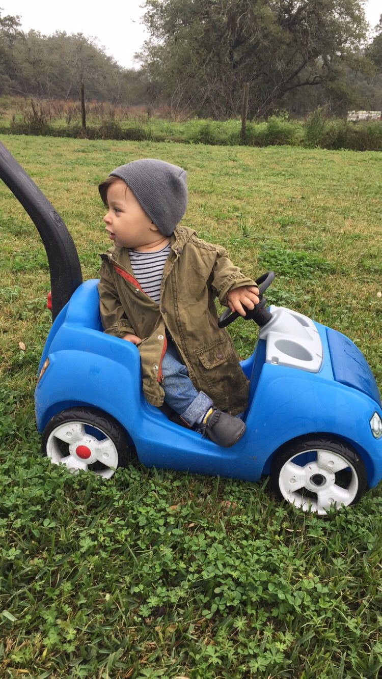 Cute toddler boy clothes /style / jacket / cuffed jeans / moccasins / outdoors / beanie