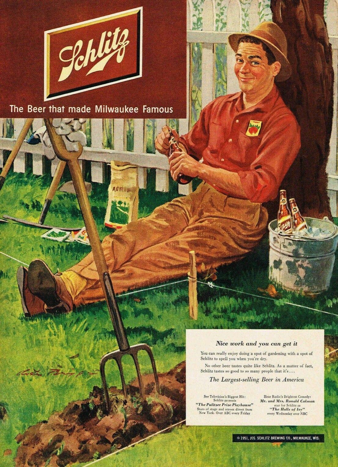 Schlitz 1951 Beer advertising, Vintage beer, Schlitz beer