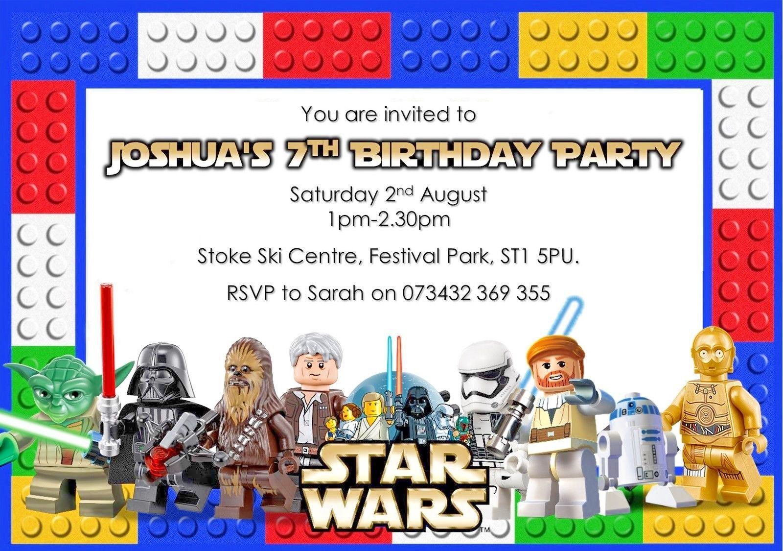 10 Personalised Lego Star Wars Birthday Party invitations / Thank ...