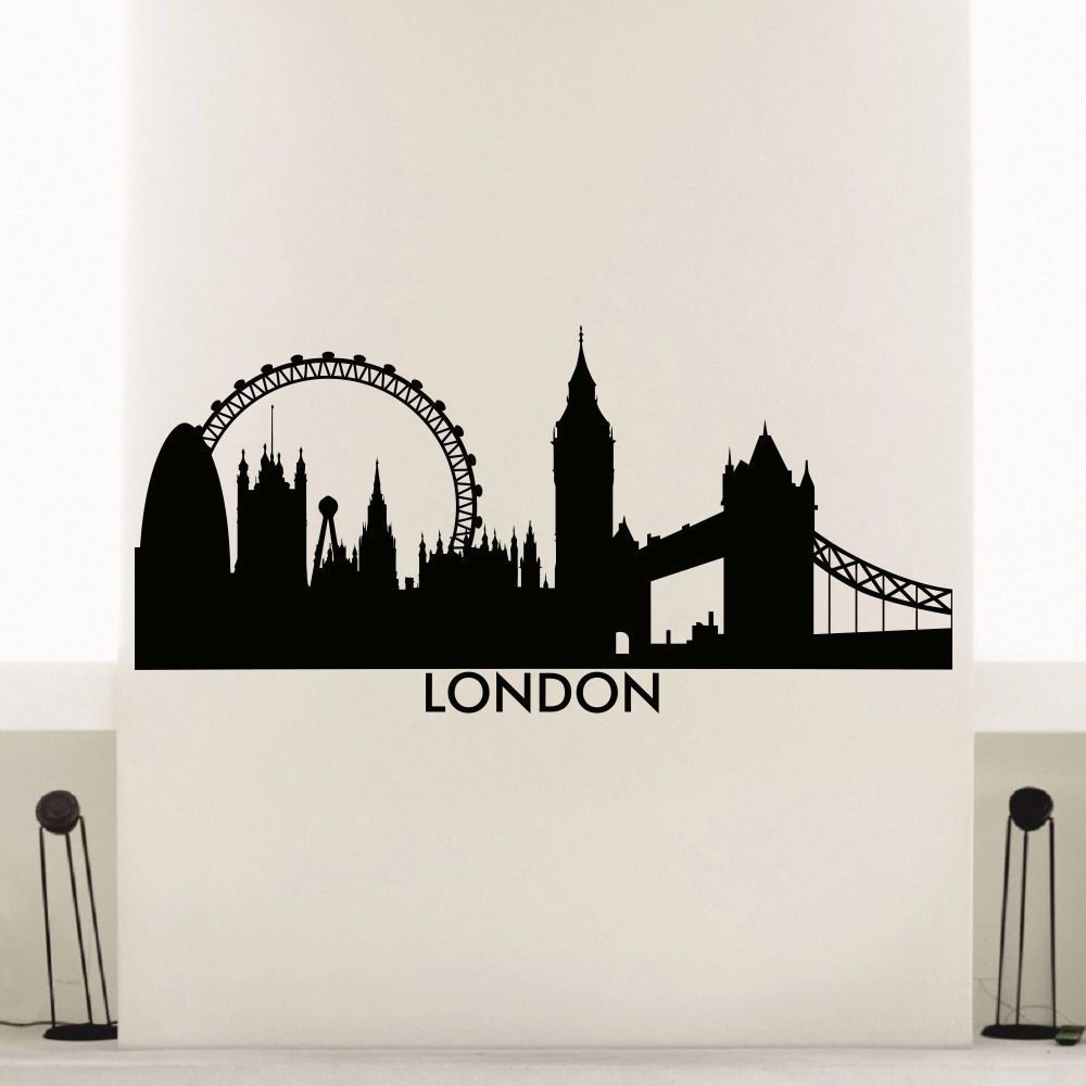England London Skyline City Silhouette Vinyl Wall Art Decal - How to make vinyl wall decals with silhouette