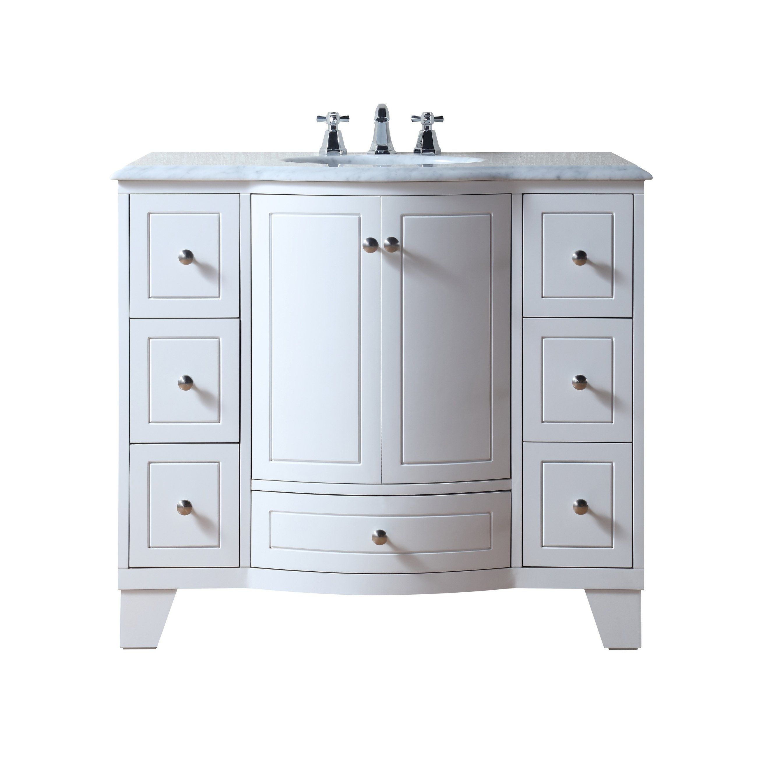 Stufurhome Grand Cheswick White 40 Inch Single Sink Vanity With Carrara Marble Top Single Sink Vanity Bathroom Sink Vanity Marble Vanity Tops