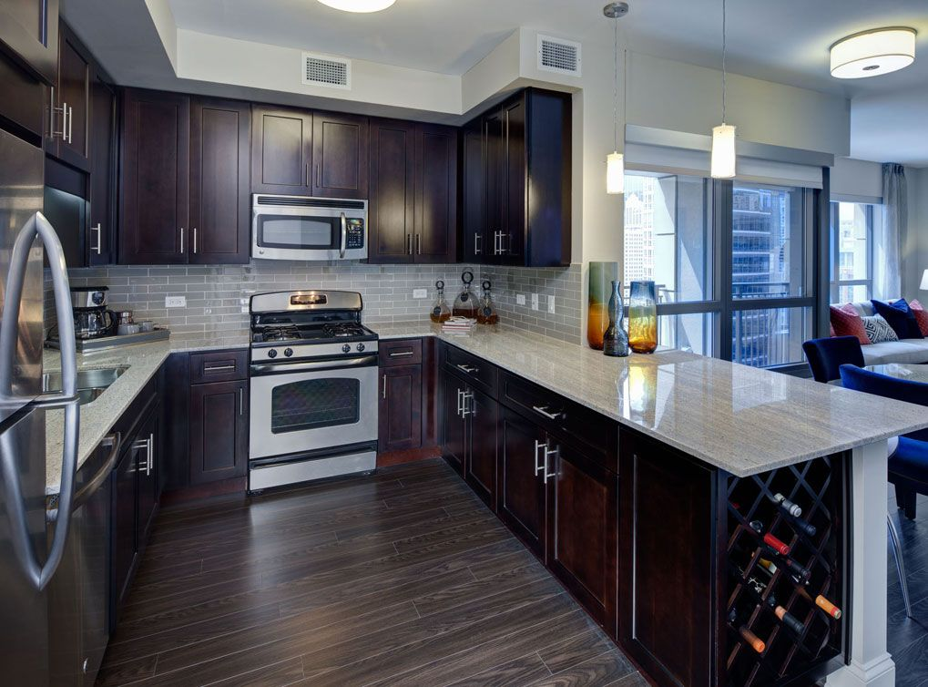 Model Kitchen At Amli River North A Luxury Apartment Community In Chicago