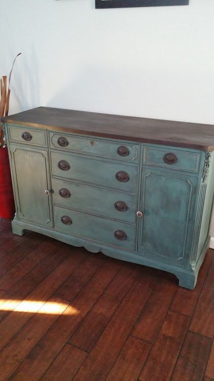 Antique, Solid Mahogany Buffet, painted a dark teal with chalk paint, the top is stained in ebony. Gorgeous piece! SOLD! on Etsy, $450.00