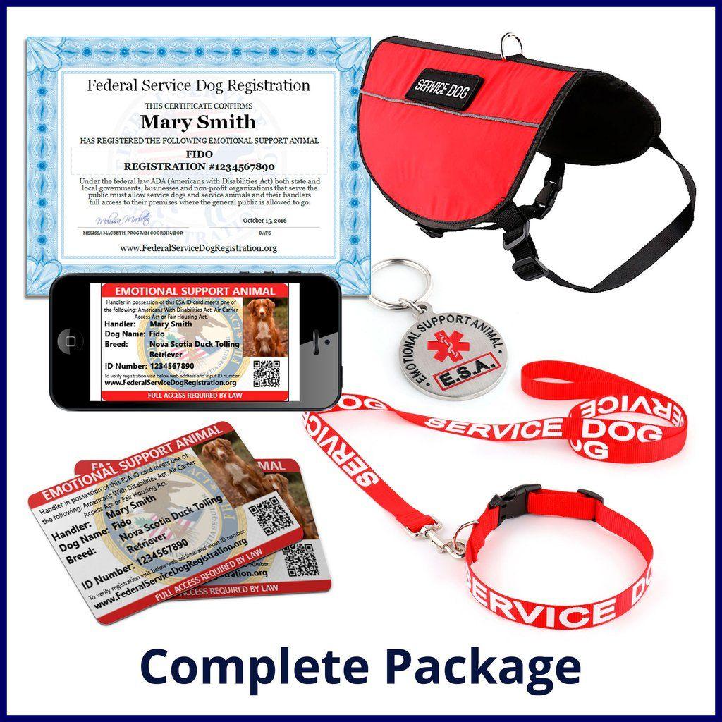 Emotional Support Animal Complete Package Bundle And Save 84 Service Dogs Emotional Support Service Dog Registration
