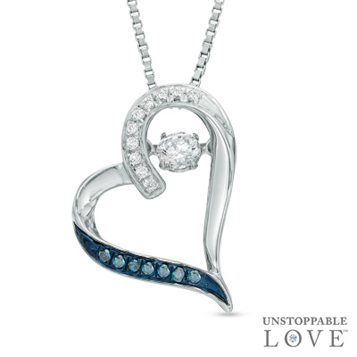 Zales Unstoppable Love 1/10 CT. T.w. Enhanced Blue and White Diamond Infinity Knot Pendant in Sterling Silver ZCpWP