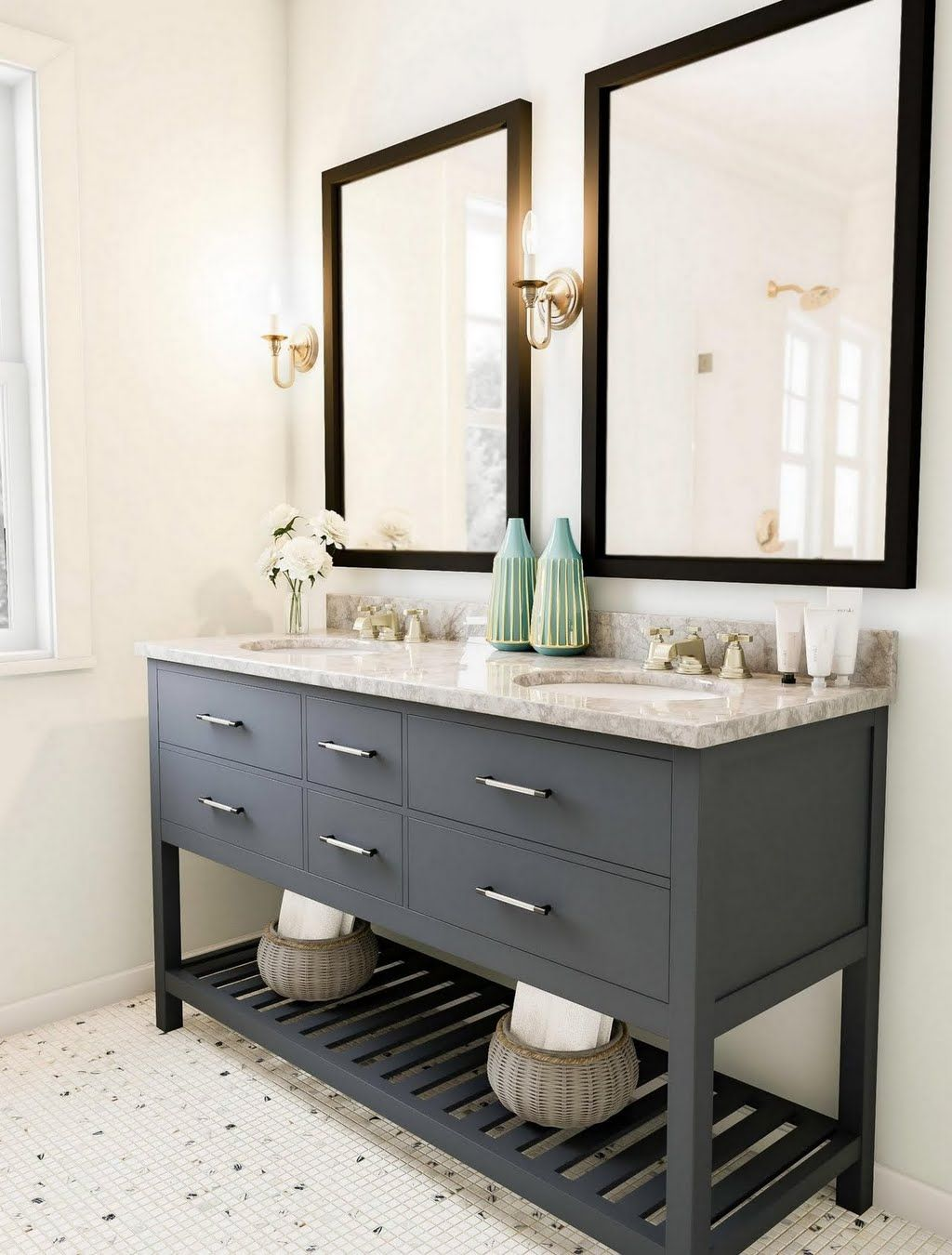 Shop Our Bathroom Department To Customize Your Dual Bathroom Sinks With Pub Mirrors Bathroom Vanity Decor Farmhouse Bathroom Vanity Home Depot Bathroom Vanity [ 1350 x 1024 Pixel ]