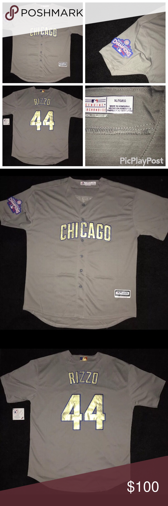online retailer 36775 3b511 Cubs Anthony Rizzo Gold Jersey Chicago Cubs - Anthony Rizzo ...