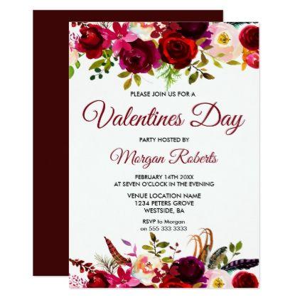 Burgundy Floral Elegant Valentines Day Invite  Invitations Custom