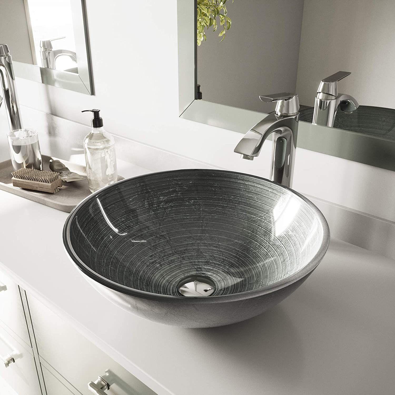Vigo Vg07053 Glass Above Counter Round Bathroom Sink 16 5 X 16 5 X 5 5 Inches Silver Simply Silver Bath In 2020 Bathroom Sink Glass Vessel Sinks Modern Bathroom Sink