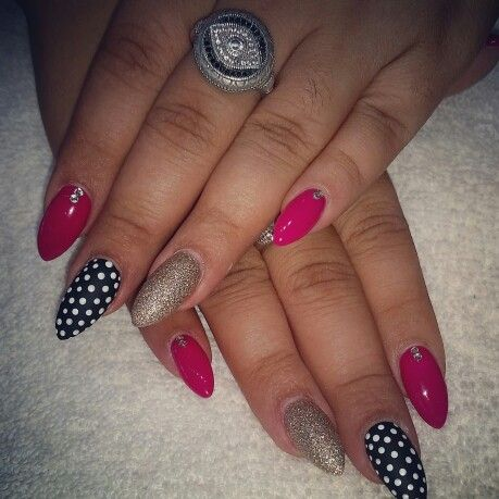 My awesome nails! Pink, black and white polka-dot, and gold. ♡♡♡