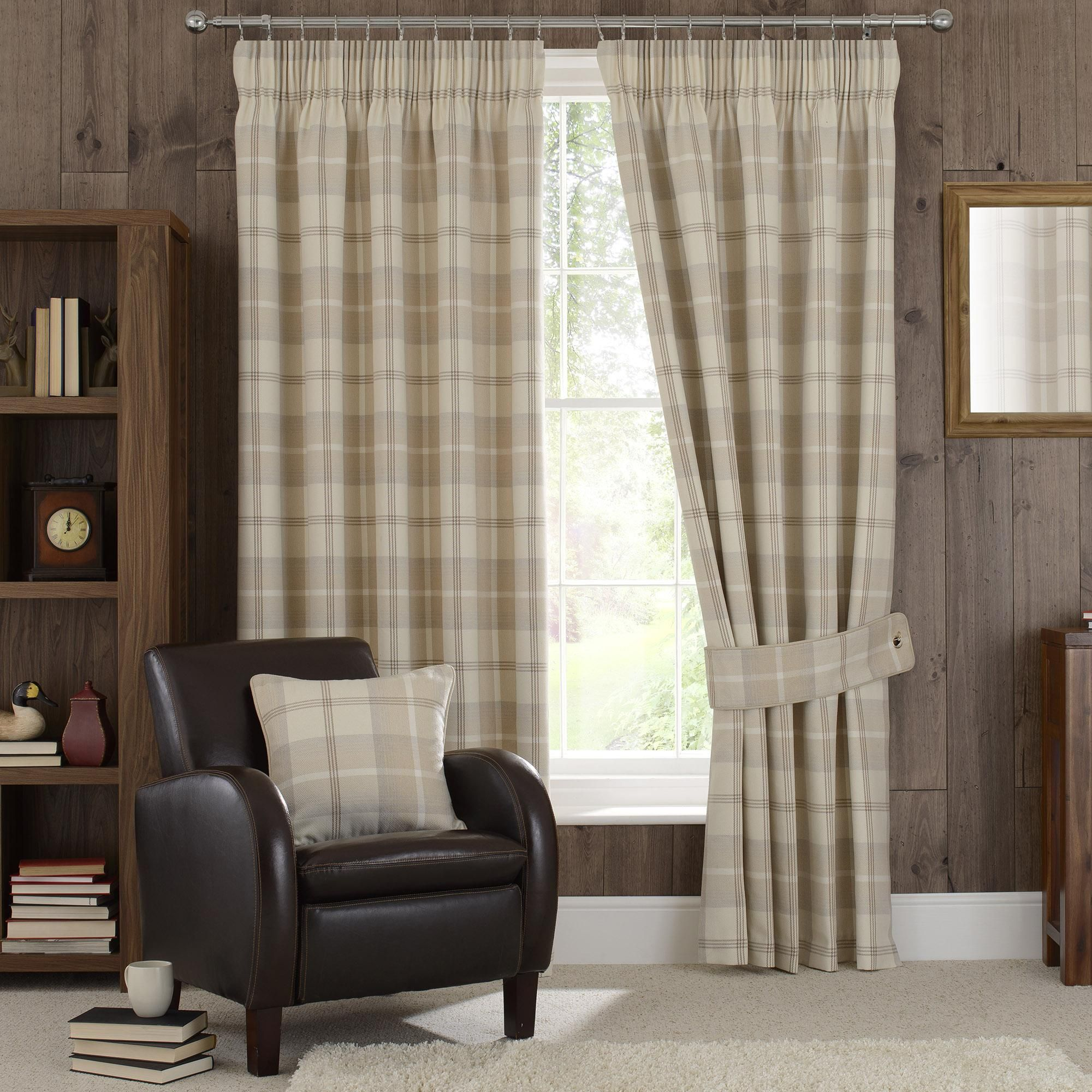 Highland Check Natural Pencil Pleat Curtains Pleated Curtains Natural Eyelet Curtains Stylish Curtains
