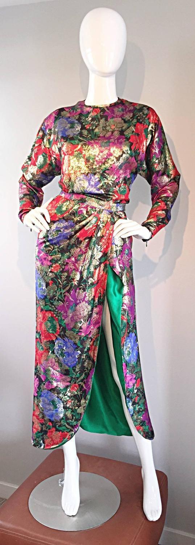 Vintage Oscar de la Renta Silk Lame Beautiful Blouse + Skirt Dress Set Ensemble 1970