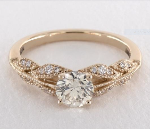 14k Yellow Gold Vintage Inspired Floral Bouquet Engagement Ring