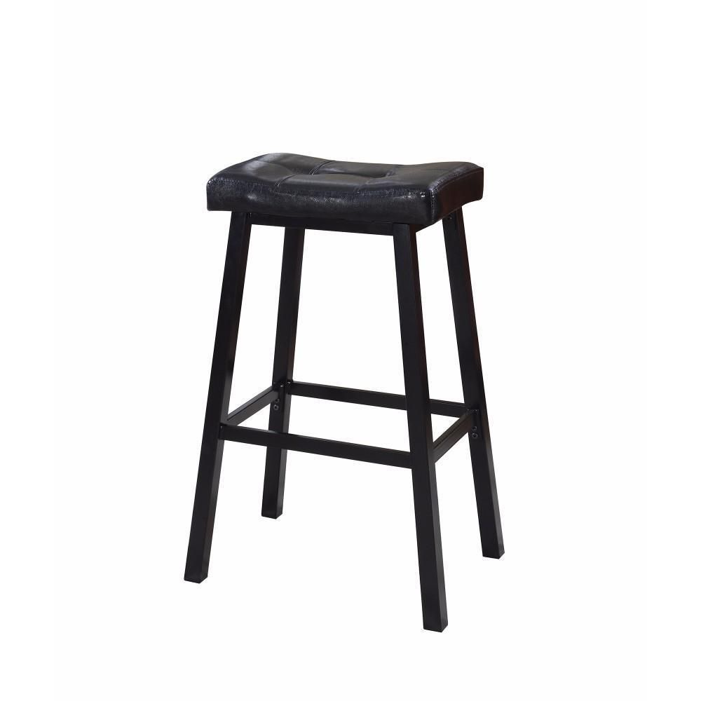 Casual Upholstered Tufted Backless Bar Height Stool Black Set Of