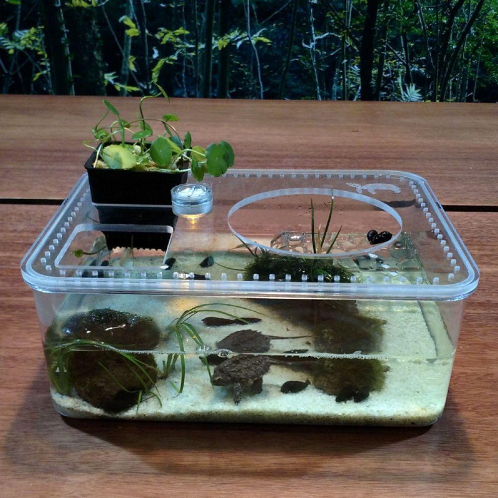 Plastic Transparent Fish Tank Insect Reptile Breeding Feeding Box Large Capacity Aquarium Habitat Tub Turtle Tank Platform Turtle Tank Transparent Fish Aquarium